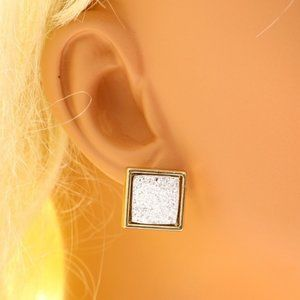 Lane Bryant square gold and sparkle post earrings